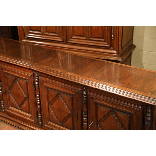 Early 19th Century French Louis XIII Carved Walnut Four-Door Enfilade Buffet For Sale In Dallas - Image 6 of 13