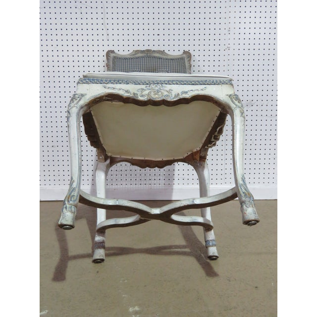 Blue Swedish Rococo Style Desk Chair For Sale - Image 8 of 9