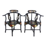 Image of A Pair of Chinese Lacquered Corner Chairs With Mother of Pearl Figures For Sale