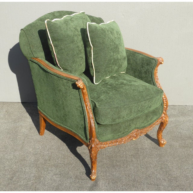 Vintage French Louis XV Style Forest Green Velvet Arm Chair For Sale - Image 5 of 11