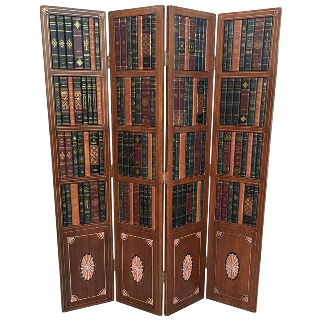 20th Century Leather Book Room Divider For Sale