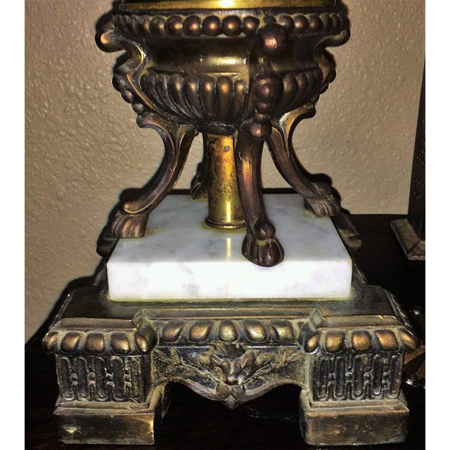 Vintage Murano Glass Table Lamp With Gold Overlay and Bronze and Marble Mounts For Sale In Dallas - Image 6 of 13