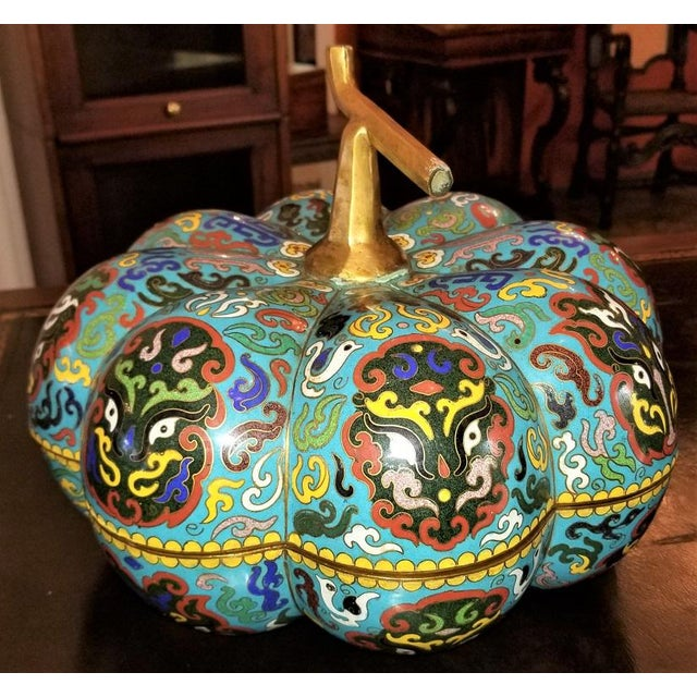 Chinese Cloisonne Pumpkin Lidded Box For Sale - Image 9 of 12