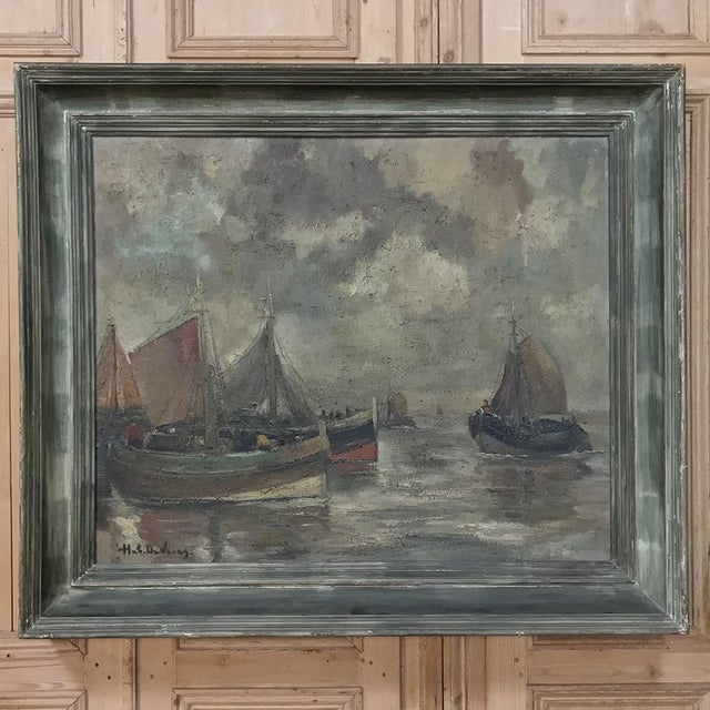 Mid-Century Framed Oil Painting on Canvas by Hubert De Vries For Sale - Image 11 of 11