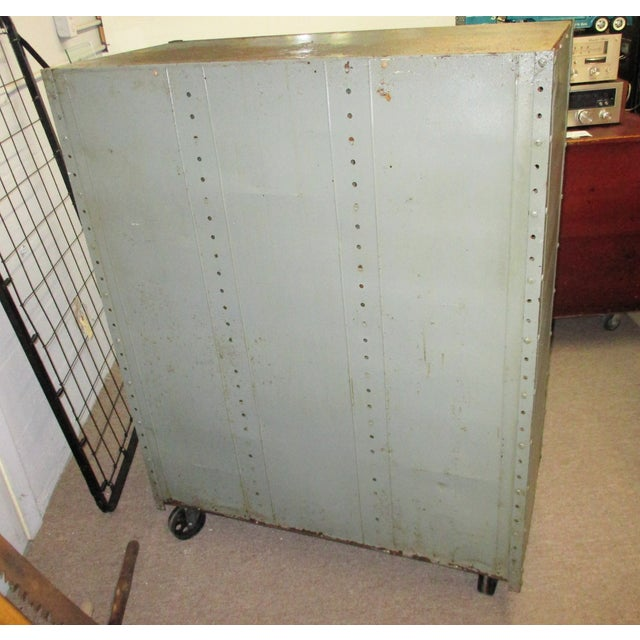 Royal Blue Vintage Industrial Equipto Muti Draw Parts Cabinet For Sale - Image 8 of 13