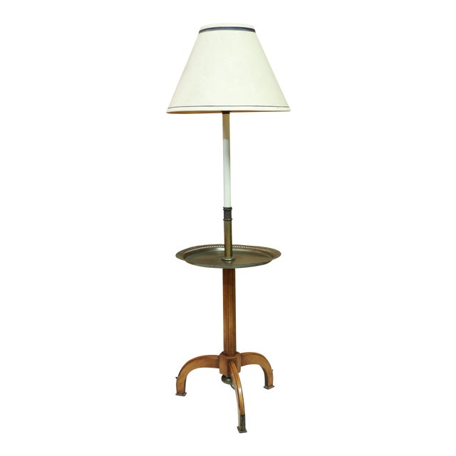 Lightolier, Gerald Thurston Style Stiffel Brass and Atomic Age, Maple Tripod Base, Floor Lamp End Table With Shade For Sale