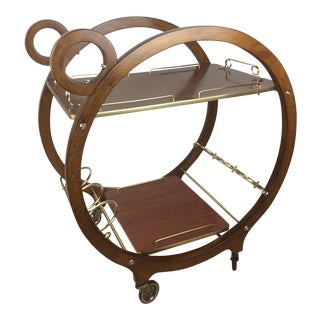 Restored 1940s French Wooden Bar Cart or Drinks Trolley For Sale