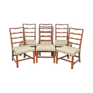 Kittinger Colonial Williamsburg Solid Mahogany Chippendale Ladder Back Dining Chairs - Set of 6 For Sale