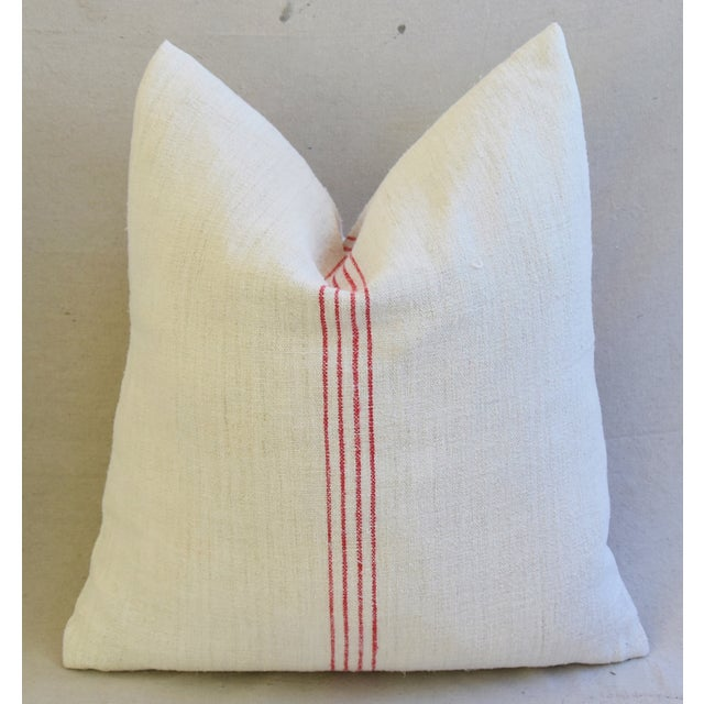 French Country Red Striped Gain Sack Pillows - Pair For Sale In Los Angeles - Image 6 of 11