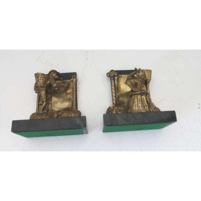 Pair of Bronze Monkey and Green Marble Bookends For Sale - Image 11 of 11