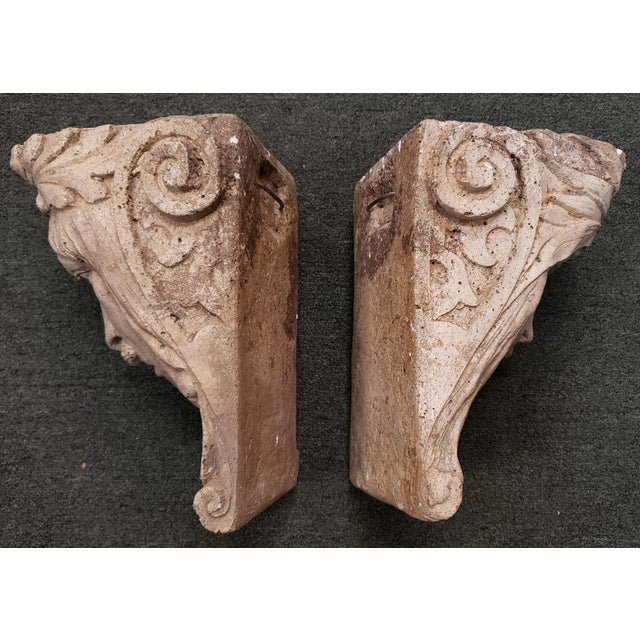 Up for sale is a Pair of Late 19th Century Italian Classical Concrete Style Plaster Moor Head Wall Corbels! The male...