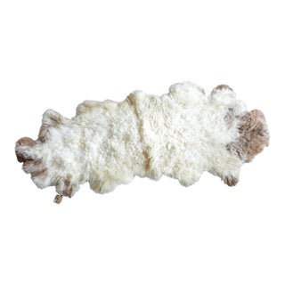 Sheepskin Brown Patches Rug - 2′ × 4′ For Sale
