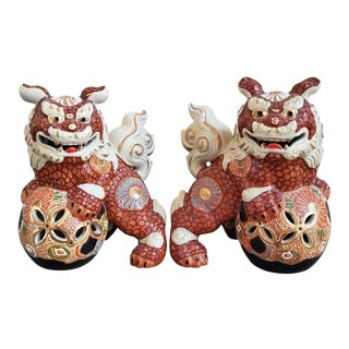 Vintage Japanese Foo Dogs, a Pair For Sale