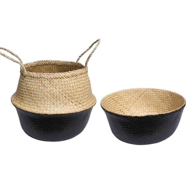 Medium Black Dipped Sea Grass Belly Basket For Sale - Image 4 of 6