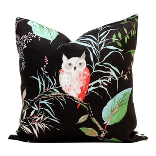 "20"" x 20"" Owlish Black Pillow Cover For Sale"