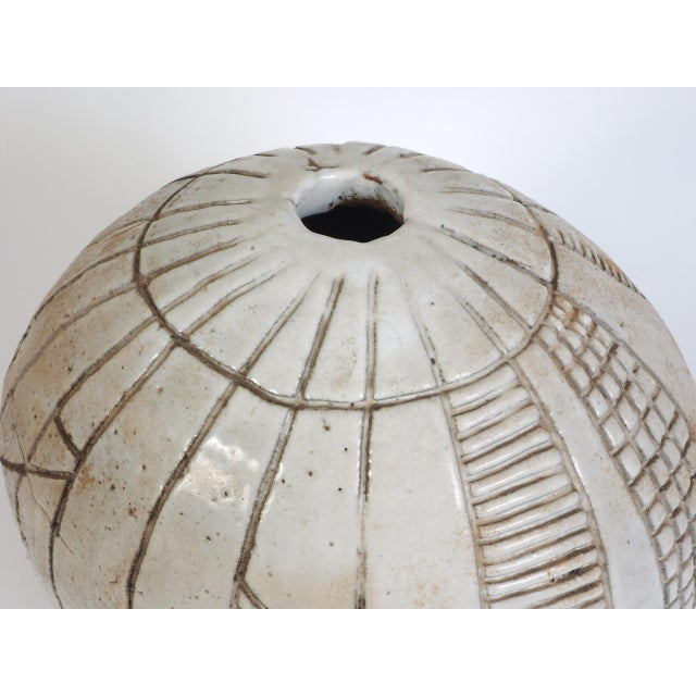 Modern Large Heavy Art Pottery Spherical Vase For Sale - Image 3 of 9
