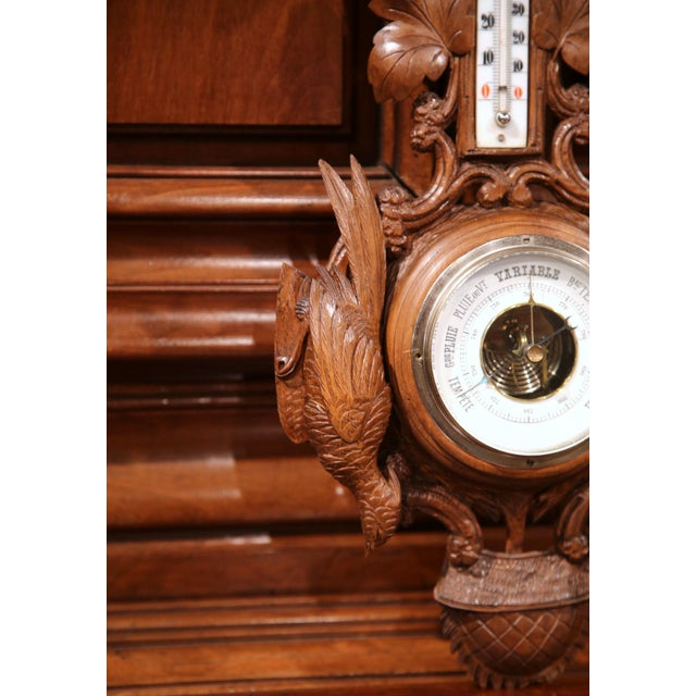 19th Century French Carved Walnut Black Forest Barometer With Deer and Guns For Sale - Image 4 of 10