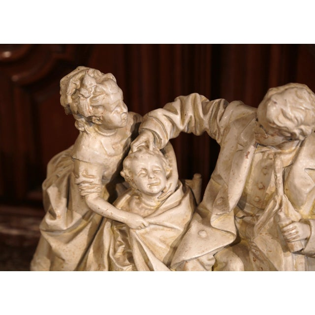 "Paint 19th Century American Cast Plaster Sculpture ""Playing Doctor"" Signed John Rogers For Sale - Image 7 of 13"
