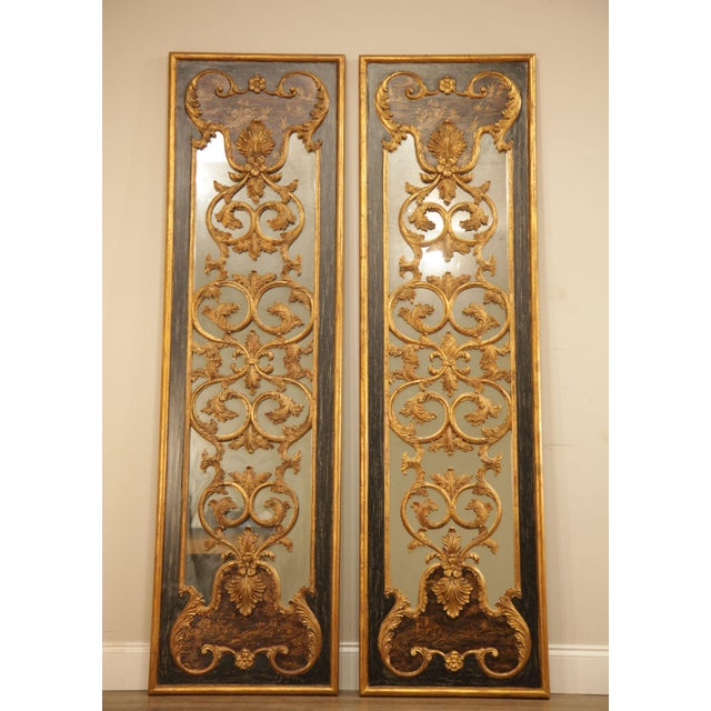 "Chinoiserie Castilian 76"" Tall Pair Gilt Carved Rococo Chinoiserie Painted Mirror Wall Panels For Sale - Image 3 of 12"