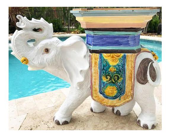 Vintage Ceramic Elephant Garden Stools #14 - Chairish