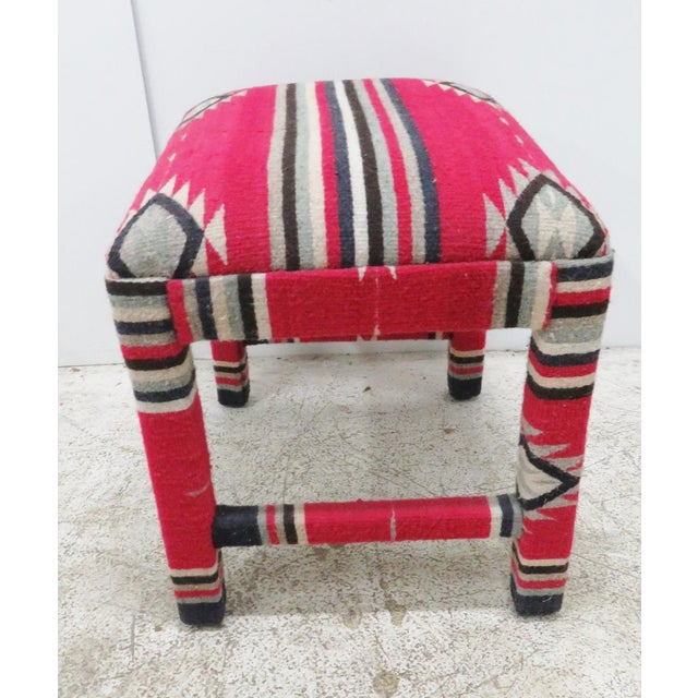 Mid-Century Modern Mid-Century Aztec Parsons Style Stool For Sale - Image 3 of 4
