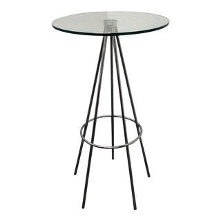 Modern Round Chrome & Glass Bar Table