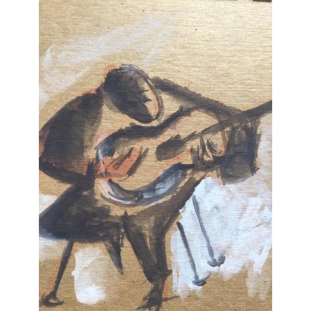 """Carmen Amaya Flamenco Guitarists"" Gouache Painting - Image 3 of 6"