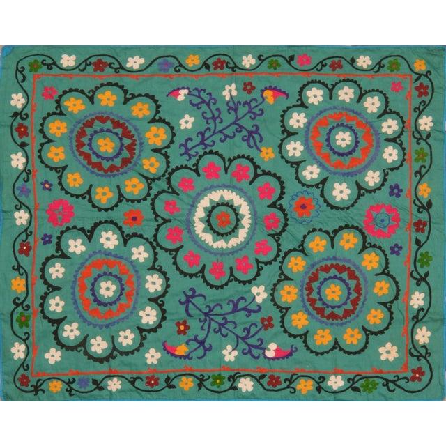 1950s Vintage Uzbeki Suzani Turquoise Textile - 5'x6'2″ For Sale - Image 5 of 5