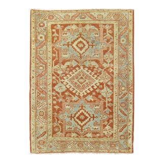 Coral Antique Heriz Throw Rug, 3'1'' X 4'2'' For Sale