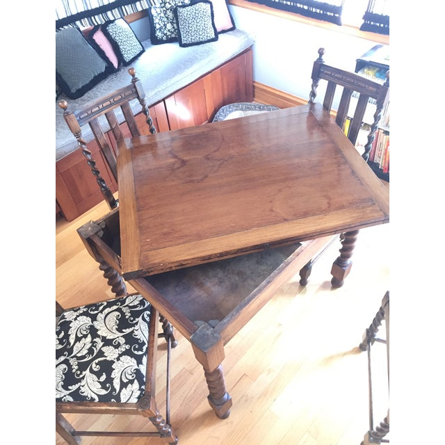 Barley Leg Solid Oak Table & Chairs - Image 2 of 5