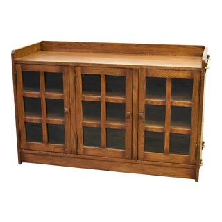 Crafters and Weavers Mission Oak 3 Door Console - Walnut For Sale