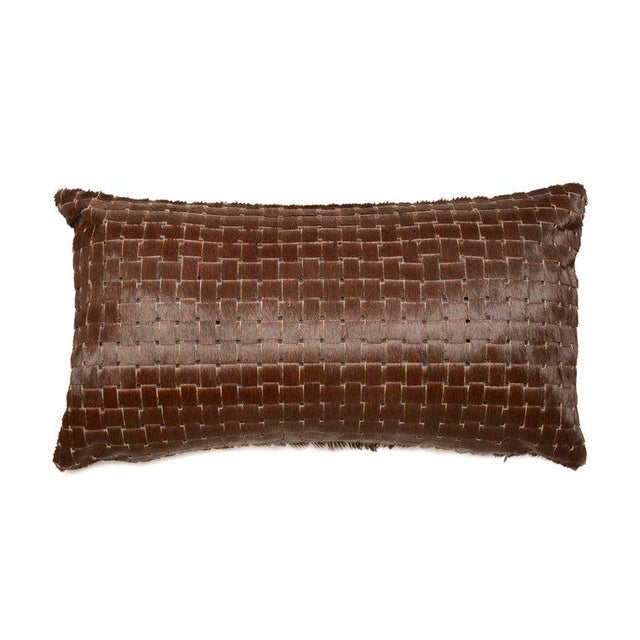 Contemporary Chocolate Brown Laser Cowhide Pillow For Sale In New York - Image 6 of 6