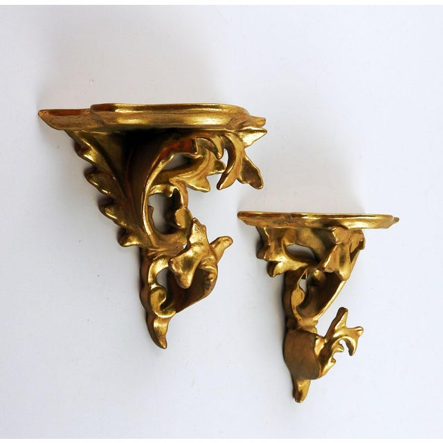 Italian Italian Carved Gilt Wood Wall Shelf Brackets - a Pair For Sale - Image 3 of 5