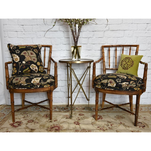 Asian Drexel Heritage Faux Bamboo Chairs - A Pair For Sale - Image 3 of 11