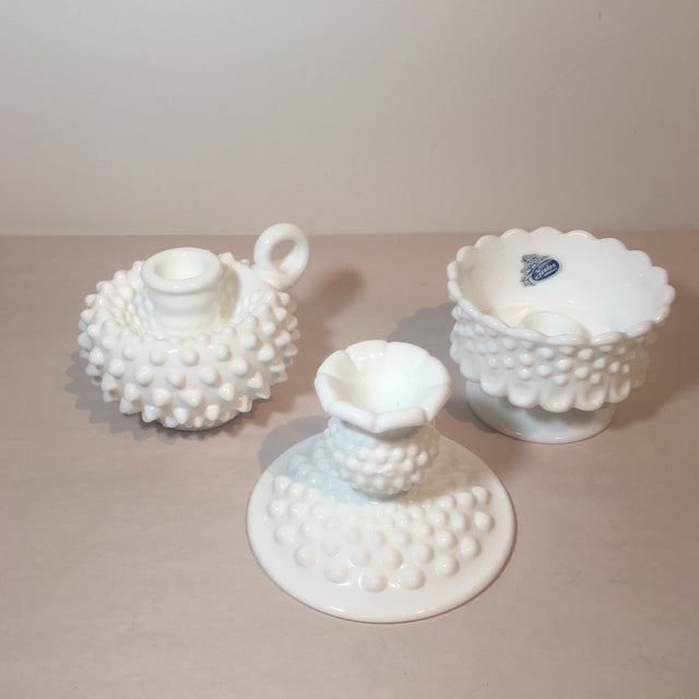 Fabulous set of 3 Fenton Hobnail Milk Glass short candlestick holders. These would look fabulous on any tabletop or...