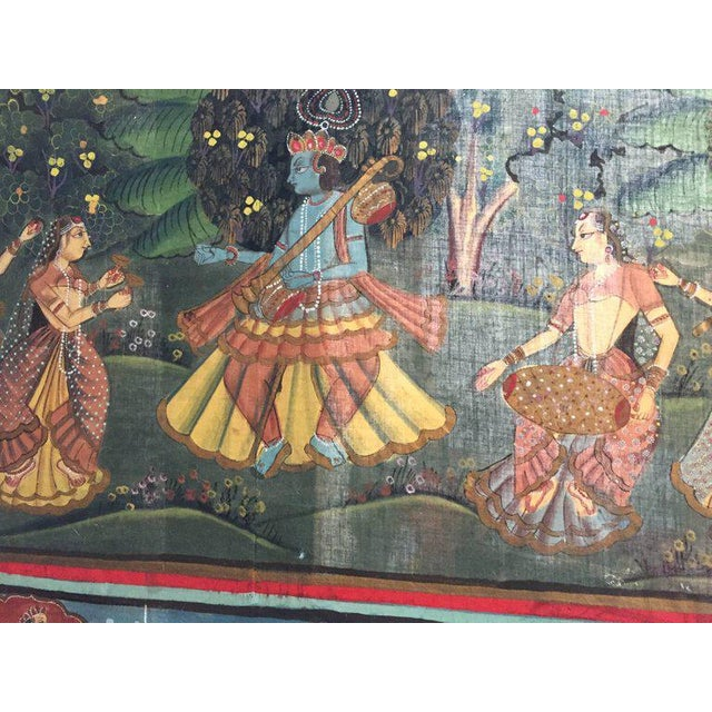 Large Colorful Pichhavai Silk Asian Painting With Krishna and Female Gopis For Sale - Image 9 of 11