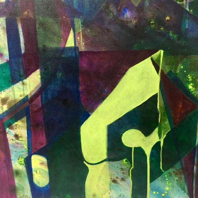 """Abstract oil on canvas painting by Houston Texas artist Margie Cameron circa 1970s Signed lower right measures 36.25"""" wide..."""