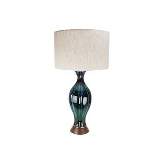 Mid-Century Modern Cobalt & Green Ceramic Lamp