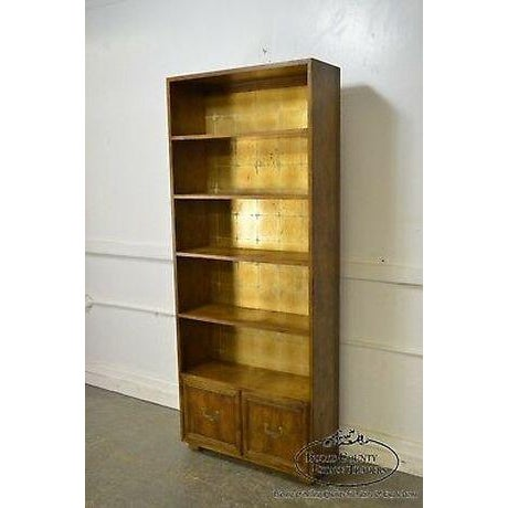 Gold Henredon Campaign Style Open Bookcase Cabinet For Sale - Image 8 of 13