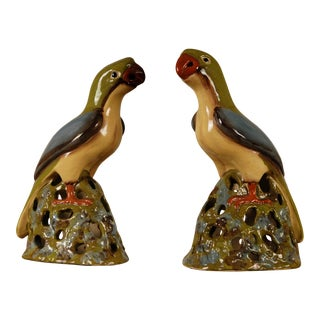 1970s Mid-Century Large Chinese Ming Style Polychrome Tin Glazed Ceramic Parrots Bird Figurines - Set of 2 For Sale