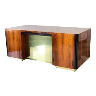 Art Deco Style Rosewood and Brass Executive Desk For Sale