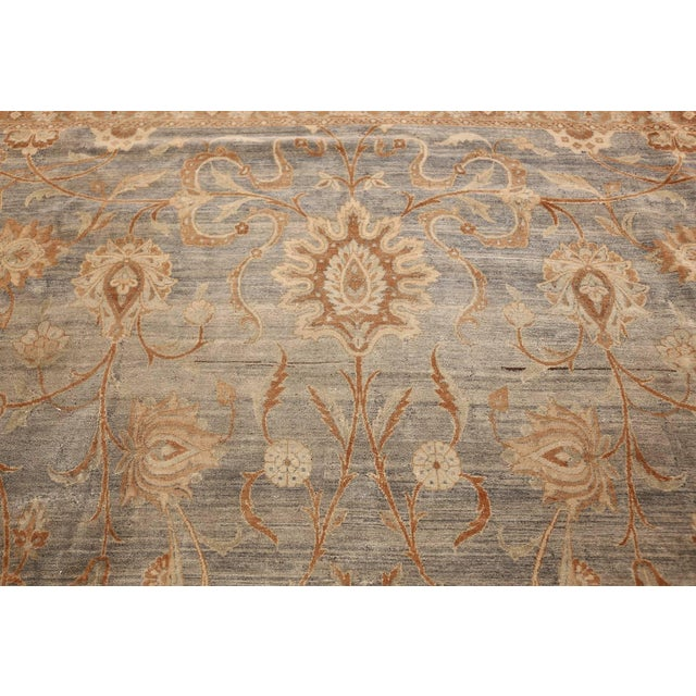 Early 20th Century Large Antique Sky Blue Persian Kerman Carpet For Sale - Image 5 of 11
