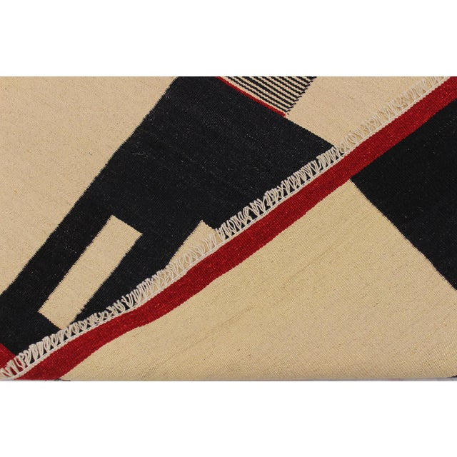 Textile Modern Abstract Kilim Aleen Black Hand-Woven Wool Rug -5′7″ × 8′ For Sale - Image 7 of 8