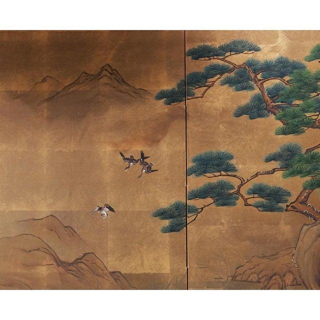 1920s Vintage Japanese Landscape Scene Byobu Screen For Sale In Dallas - Image 6 of 13