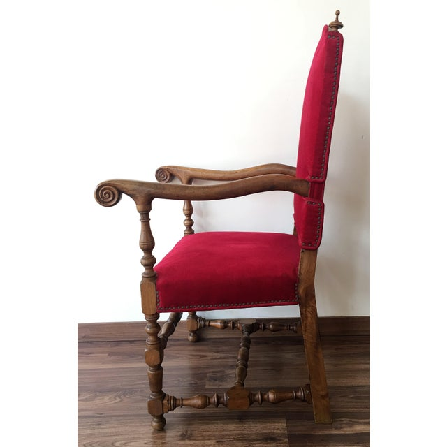 Baroque 19th Century Louis XIII Style Fauteuils Throne Armchair in Red Velvet For Sale - Image 3 of 6