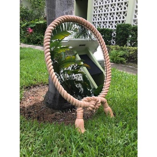 Turner Glass Company Vintage Rope and Tassel Oval Mirror Green Is Grass It Was Photographed On For Sale - Image 4 of 5