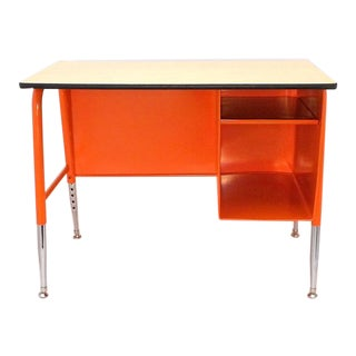Orange Mid Century Modern Petite Office School Tanker Desk For Sale