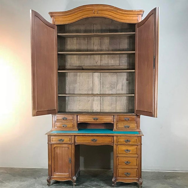 Grand 19th Century Louis Philippe Walnut Desk With Bookcase For Sale - Image 4 of 12