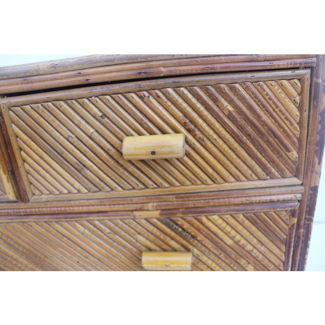 Vintage Pencil Reed & Rattan 5 Drawer Chest - Image 6 of 11