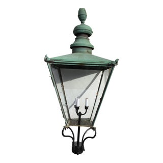 Antique Vintage Copper and Cast Iron Post Lantern Light For Sale